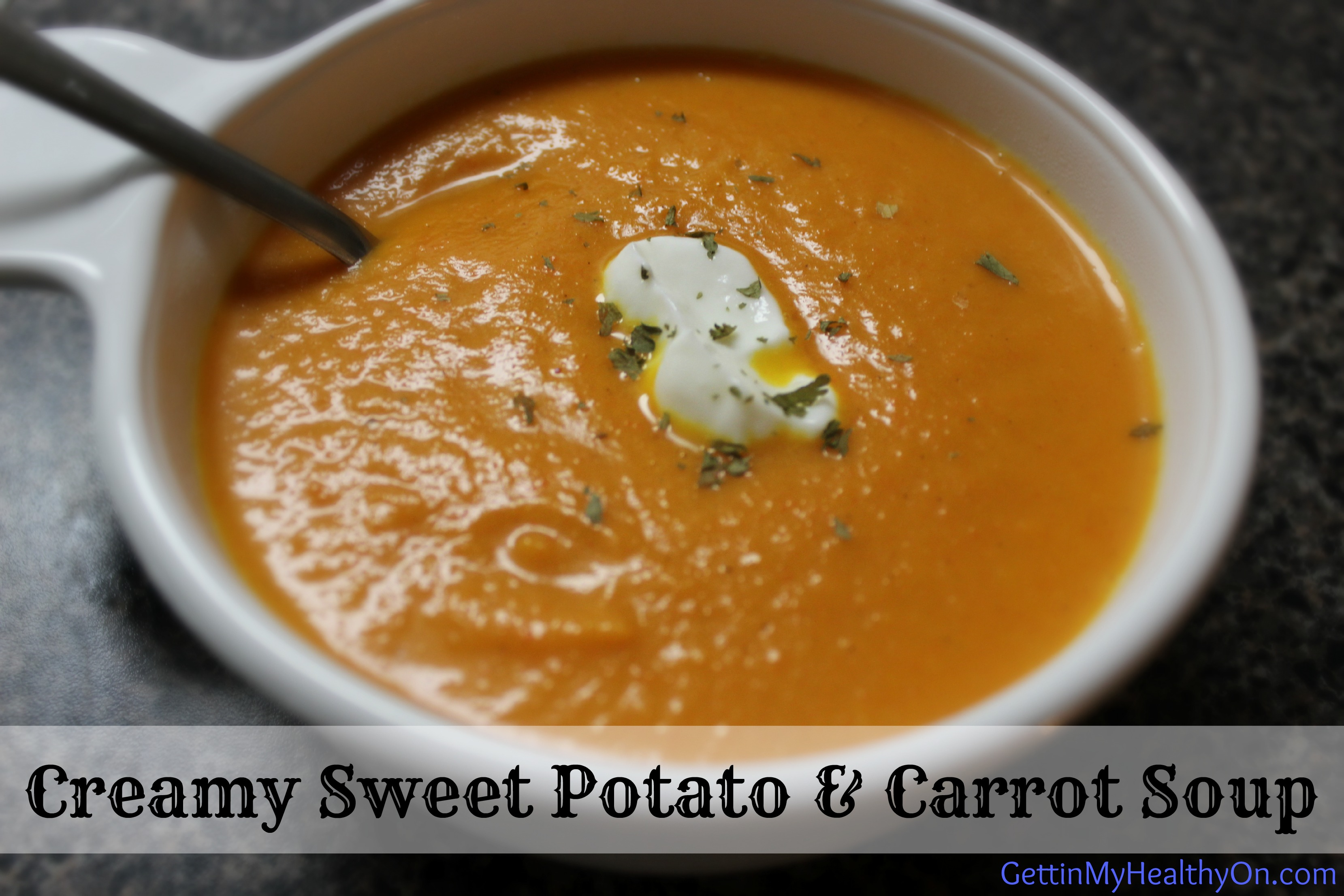 Creamy Sweet Potato and Carrot Soup is a delicious puree of bright ...