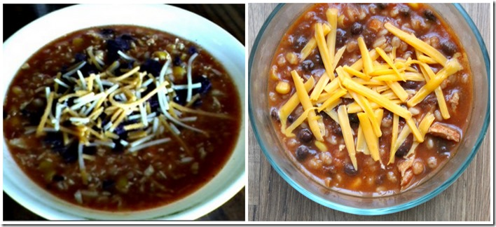 Southwest Chicken Barley Soup Before and After
