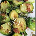 Pan Seared Brussels Sprouts with Bacon