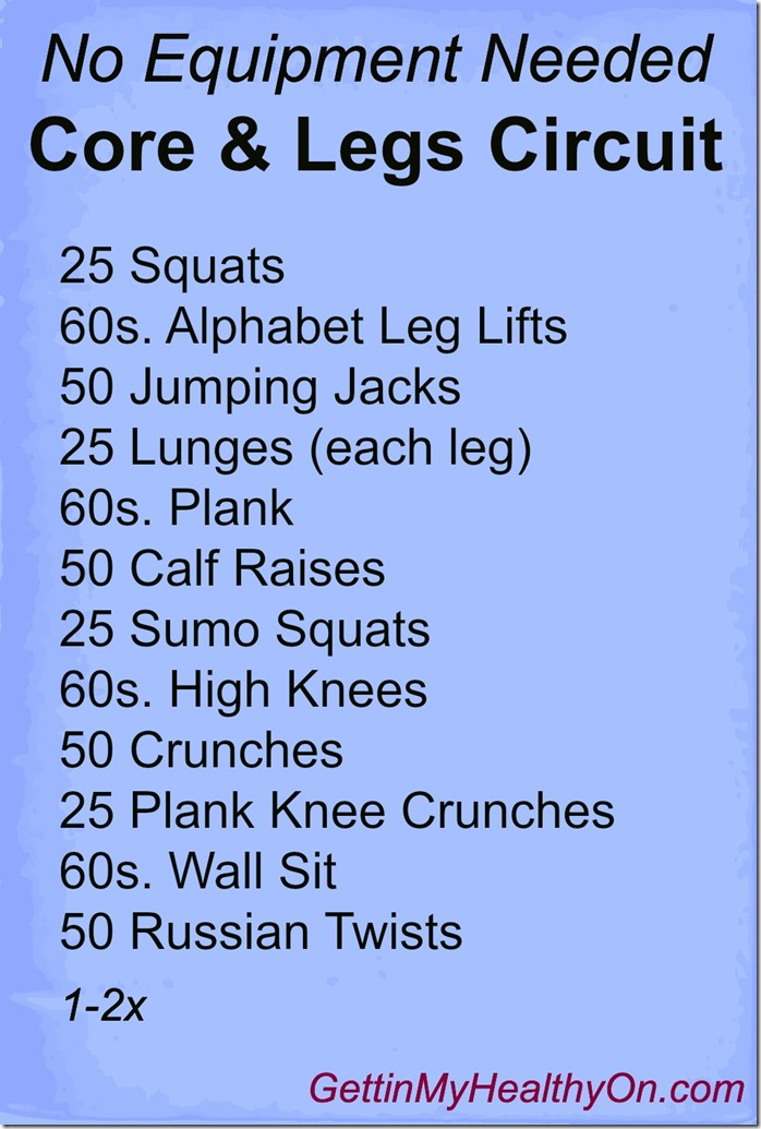 No Equipment Needed Core & Legs Circuit