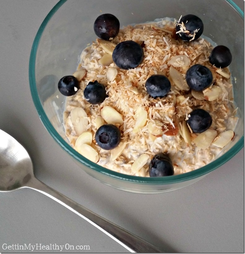 Blueberry Coconut Almond Refrigerator Oatmeal
