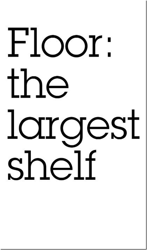 Floor: the largest shelf