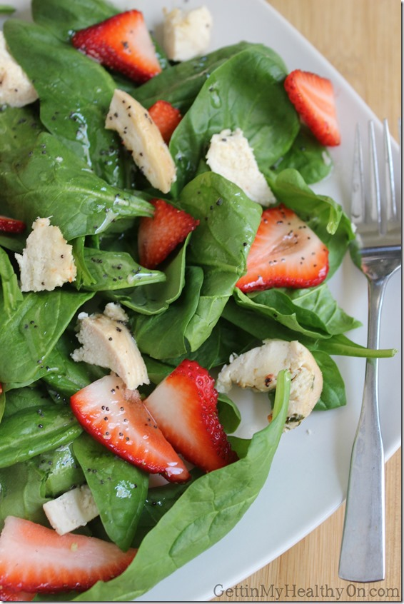 Chicken Strawberry Spinach Salad with Poppyseed Dressing