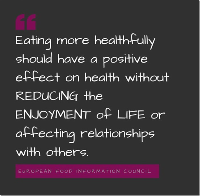 Eating healthy shouldn't reduce enjoyment of life