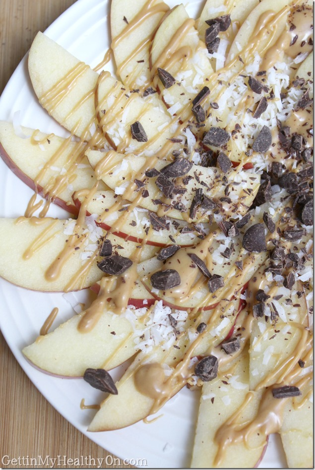 Apple Nachos with Chocolate Peanut Butter Coconut