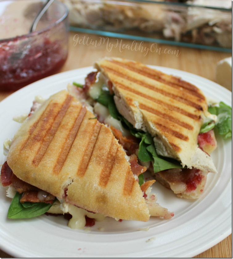 Turkey Bacon Brie Panini with Cranberry Sauce