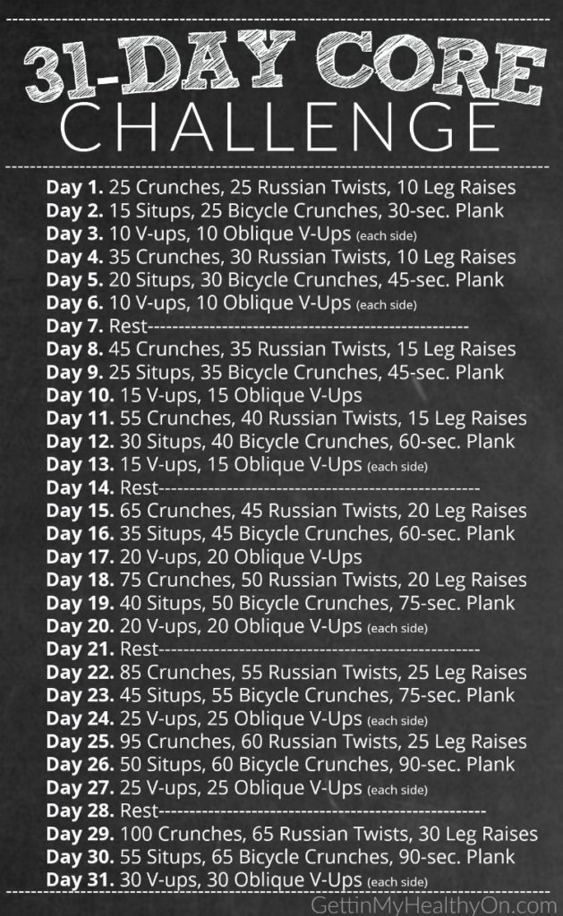 31 Day Core Challenge Workout Schedule