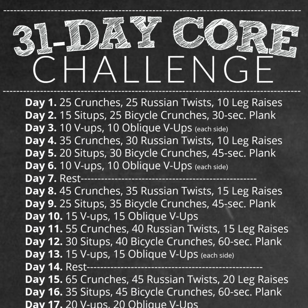 31 Day Core Challenge Workout